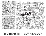 hand drawn food elements. set... | Shutterstock .eps vector #1047571087