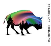 silhouette of buffalo with... | Shutterstock . vector #1047589693