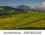 summer in alpe di siusi seiser... | Shutterstock . vector #1047601243