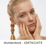 beautiful face and hands woman  ... | Shutterstock . vector #1047611473