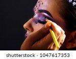 makeup artist paints. young... | Shutterstock . vector #1047617353