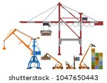 set of container loaders ... | Shutterstock .eps vector #1047650443