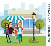 group of people outside market | Shutterstock .eps vector #1047695983