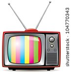 vector illustration of retro tv set - stock vector