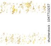 gold flying musical notes...   Shutterstock .eps vector #1047713257