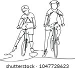 children on bicycles. one line | Shutterstock .eps vector #1047728623