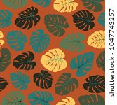 vector tropical pattern with... | Shutterstock .eps vector #1047743257