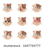 cats emotions character. cats ... | Shutterstock .eps vector #1047754777