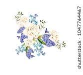 a beautiful watercolor bouquet... | Shutterstock . vector #1047764467