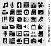 multimedia icons set. vector... | Shutterstock .eps vector #1047804313