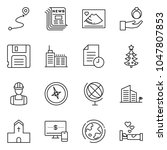 thin line icon set   monitor... | Shutterstock .eps vector #1047807853