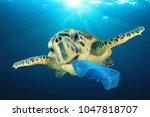 plastic pollution problem   sea ...   Shutterstock . vector #1047818707