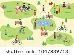 summer public park with active... | Shutterstock .eps vector #1047839713