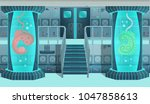Background for games and mobile applications spaceship. Spaceship interior, laboratory. Cartoon vector illustration. | Shutterstock vector #1047858613