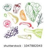 hand drawn doodle food set | Shutterstock .eps vector #1047882043
