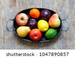 mixed fruits of apples  lime ... | Shutterstock . vector #1047890857