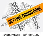 getting things done word cloud  ...   Shutterstock .eps vector #1047892687