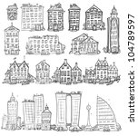 set of hand drawn houses ... | Shutterstock .eps vector #104789597
