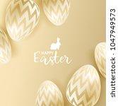 easter eggs on gold background | Shutterstock .eps vector #1047949573