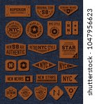 set of leather labels. | Shutterstock .eps vector #1047956623