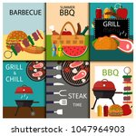 barbecue grill food banner... | Shutterstock .eps vector #1047964903