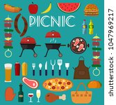 barbecue grill food vector... | Shutterstock .eps vector #1047969217
