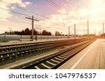 empty austria suburb railway...   Shutterstock . vector #1047976537