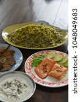 herb rice and fish  aka sabzi...   Shutterstock . vector #1048049683