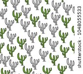 mexican cactus seamless pattern ... | Shutterstock .eps vector #1048055533