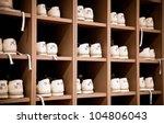 White bowling shoes on racks