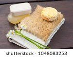 yellow soap and shampoo bar on... | Shutterstock . vector #1048083253