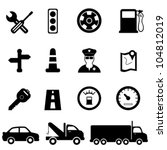 Driving, road and traffic icon set - stock vector