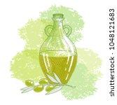 olive branch and bottle sketch... | Shutterstock .eps vector #1048121683