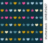 embroidery stars and hearts... | Shutterstock .eps vector #1048192627