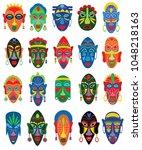 tribal mask vector african face ... | Shutterstock .eps vector #1048218163