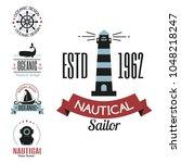 sea marine vector nautical logo ... | Shutterstock .eps vector #1048218247