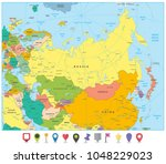 eurasia political map and flat... | Shutterstock .eps vector #1048229023