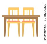 a square shaped dining table... | Shutterstock .eps vector #1048280323