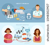 obesity problem diet and... | Shutterstock .eps vector #1048302907