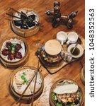 bao bun sandwich served with... | Shutterstock . vector #1048352563