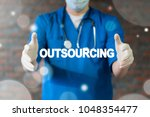 Small photo of Doctor offers outsourcing text icon on a virtual interface. Outsourcing Offshoring Medical Hospital Services Workforce Manpower. Human Rsources Freelance Outsource.