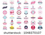happy birthday vector logo for... | Shutterstock .eps vector #1048370107