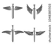 set of emblems with medieval... | Shutterstock .eps vector #1048385503