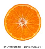 Small photo of Round halve of mandarin isolated on white background