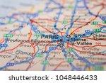 paris on the map | Shutterstock . vector #1048446433