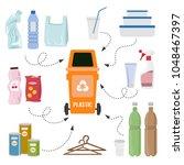 plastic trash on white...   Shutterstock .eps vector #1048467397