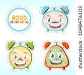 vector set of cute alarm clock... | Shutterstock .eps vector #1048476103