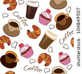 seamless pattern of coffee and... | Shutterstock . vector #104849507