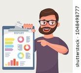happy beard businessman shows... | Shutterstock .eps vector #1048498777