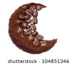 Ground coffee and coffee beans closeup isolated on white - stock photo